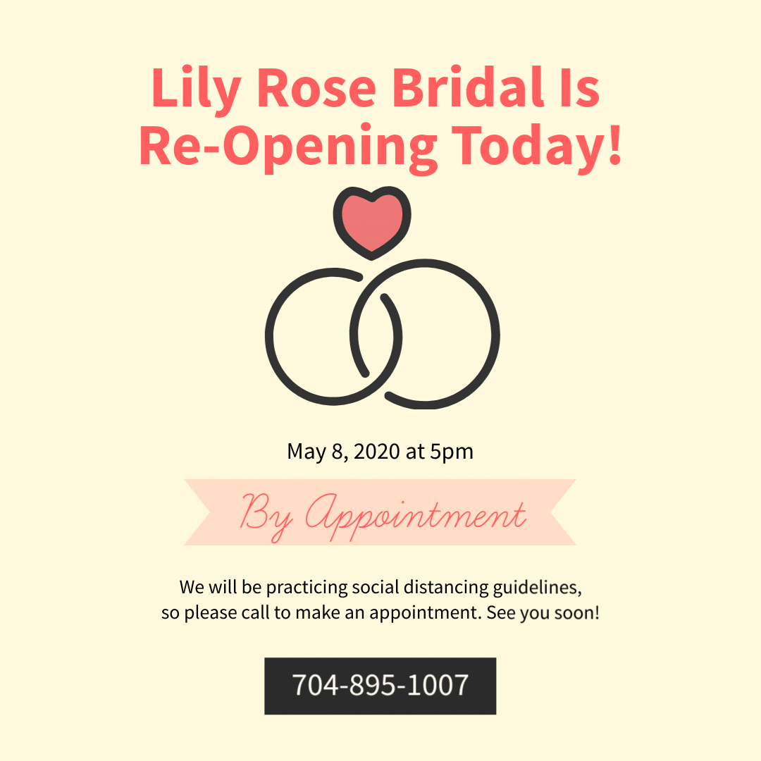 Lily Rose Bridal re-opening graphic May 8, 2020