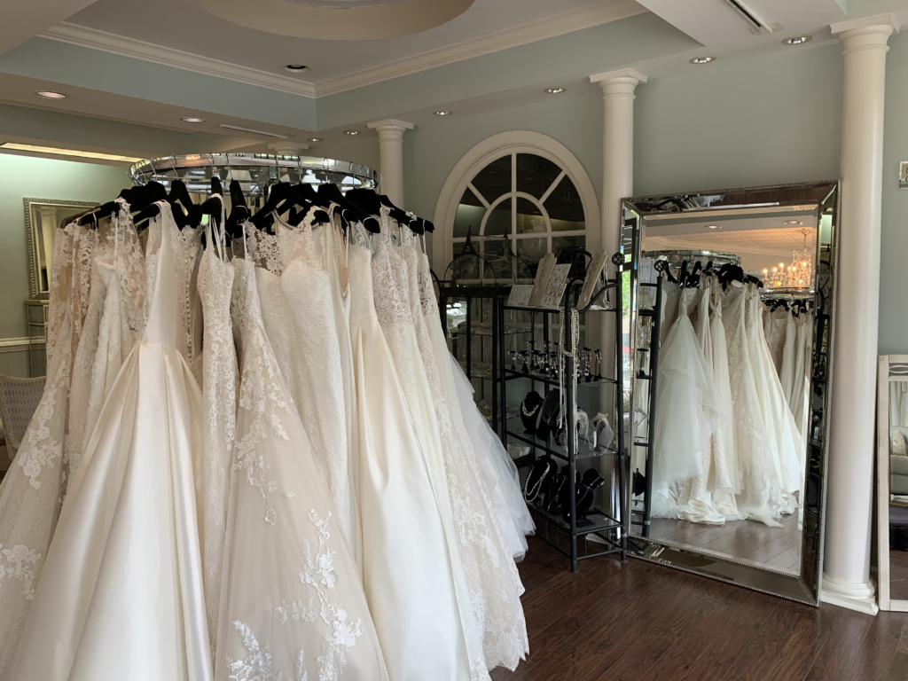 Lily Rose Bridal shop interior with wedding dresses